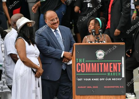 Stock Picture of Yolanda Renee King, granddaughter of Martin Luther King Jr., speaks at the Lincoln Memorial