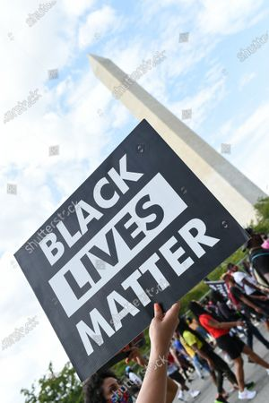 Protesters gather at the Lincoln Memorial
