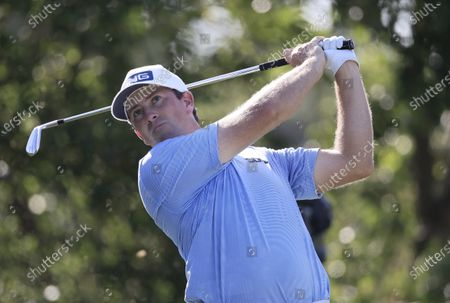 Michael Thompson of the United States tees off at the 13th tee during the first round of the 2020 BMW Championship held at the Olympia Fields Country Club in Olympia Fields, Illinois, USA, 27 August 2020.