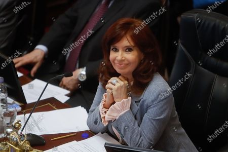The Vice President of Argentina, Cristina Fernandez de Kirchner, smiles as she presides over the legislative session in which the judicial reform proposed by the Government of Alberto Fernandez is addressed, in the National Congress, in Buenos Aires, Argentina, 27 August 2020. The reform proposal, which contemplates the unification of dozens of courts in Criminal, Federal Correctional and Economic Criminal matters, into a jurisdiction that would be called Federal Criminal Law and which would have a seat in the Autonomous City of Buenos Aires, has provoked the rejection of different parties, mostly opposition.