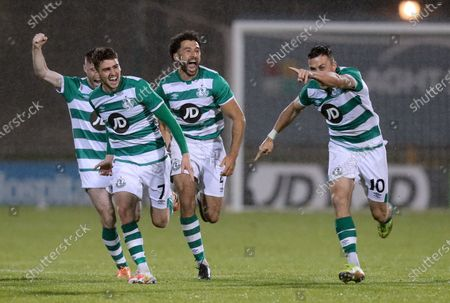 Shamrock Rovers vs Ilves Tampere . Rovers' Jack Byrne Dylan Watts, Roberto Lopez and Aaron McEneff celebrate after Joey O'Brien scored the winning penalty