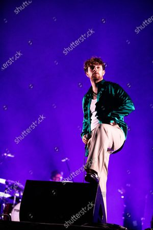 Tom Grennan performs in a socially distanced concert