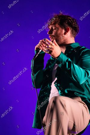 Stock Image of Tom Grennan performs in a socially distanced concert