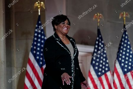Alice Johnson, who was pardoned by President Donald Trump, walks on stage to tape her speech for the fourth day of the Republican National Convention from the Andrew W. Mellon Auditorium in Washington