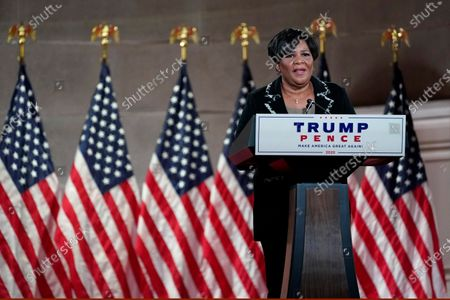 Alice Johnson, who was pardoned by President Donald Trump, tapes her speech for the fourth day of the Republican National Convention from the Andrew W. Mellon Auditorium in Washington