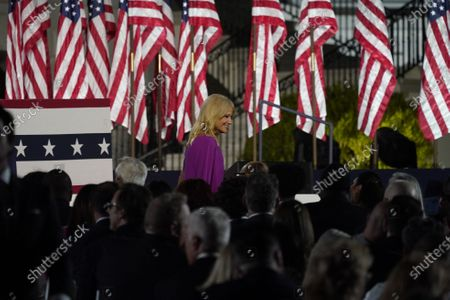 Senior Counselor Kellyanne Conway arrives prior to United States President Donald J. Trump formally accepting the 2020 Republican presidential nomination during his Republican National Convention address from the South Lawn at the White House in Washington, DC.