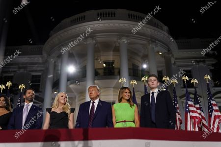 (2-L to R) Donald trump, Jr., Tiffany Trump, US President Donald J. Trump, Melania Trump, and Barron Trump stand on stage during the closing night of the Republican National Convention, on the South Lawn of the White House, in Washington, DC, USA, 27 August 2020. Due to the coronavirus pandemic the Republican Party has moved to a televised format for its convention.