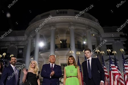 (L-R) Donald trump, Jr., Tiffany Trump, US President Donald J. Trump, Melania Trump, and Barron Trump stand on stage during the closing night of the Republican National Convention, on the South Lawn of the White House, in Washington, DC, USA, 27 August 2020. Due to the coronavirus pandemic the Republican Party has moved to a televised format for its convention.