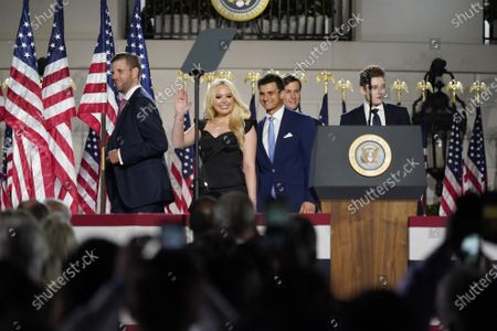 Eric Trump (L), Tiffany Trump (C-L), Senior Presidential Advisor Jared Kushner (2-R), and Barron Trump (R) attend the closing night of the Republican National Convention, on the South Lawn of the White House, in Washington, DC, USA, 27 August 2020. Due to the coronavirus pandemic the Republican Party has moved to a televised format for its convention.
