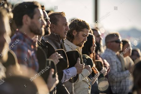 Stock Photo of Ian Bohen as Ryan, Kevin Costner as John Dutton, Luke Grimes as Kayce Dutton and Kelsey Chow as Monica Dutton