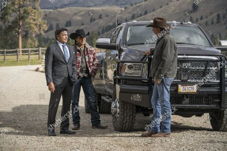 Stock Picture of Gil Birmingham as Thomas Rainwater, Mo Brings Plenty as Rainwater's Driver and Kevin Costner as John Dutton