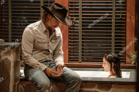 Luke Grimes as Kayce Dutton and Kelsey Chow as Monica Dutton