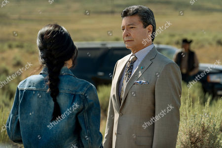 Kelsey Chow as Monica Dutton and Gil Birmingham as Thomas Rainwater