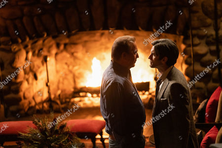 Stock Picture of Kevin Costner as John Dutton and Wes Bentley as Jamie Dutton