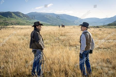 Cole Hauser as Rip Wheeler and Kevin Costner as John Dutton