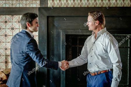 Wes Bentley as Jamie Dutton and Josh Holloway as Roarke Morris