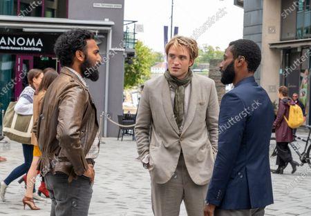 Himesh Patel as Mahir, Robert Pattinson as Neil and John David Washington as The Protagonist