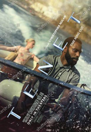 Stock Photo of Tenet (2020) Poster Art. Elizabeth Debicki as Kat and John David Washington as The Protagonist