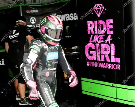 Spanish female Superbike rider Ana Carrasco is seen during the free training session held at Motorland circuit in Alcaniz, Spain, 28 August 2020. The WSBK Superbike Aragón-Alcañiz will be held 30 August 2020.