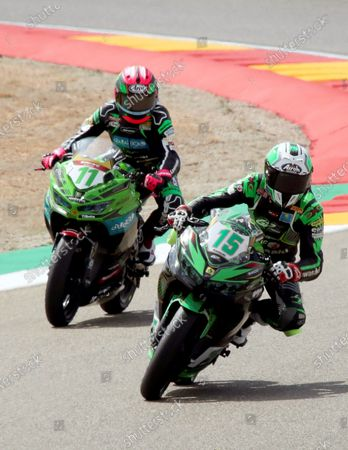 Superbike riders Ana Carrasco (L) of Spain and Alfonso Coppola (R) of Italy in action during the free training session at Motorland circuit in Alcaniz, Spain, 28 August 2020. The WSBK Superbike Aragon-Alcaniz race of the World Superbike Championship will take place on 30 August 2020.