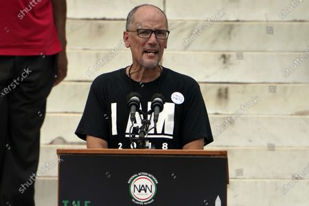Stock Picture of Tom Perez, chairman of the Democratic National Committee, speaks at the March on Washington, at the Lincoln Memorial in Washington