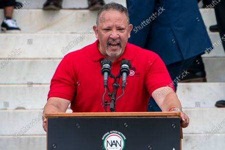 """Marc Morial, president of National Urban League, speaks during the March on Washington, at the Lincoln Memorial in Washington, on the 57th anniversary of the Rev. Martin Luther King Jr.'s """"I Have A Dream"""" speech"""