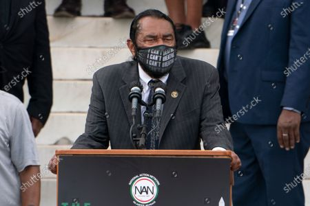 """Rep. Al Green, D-Texas, speaks during the March on Washington, at the Lincoln Memorial in Washington, on the 57th anniversary of the Rev. Martin Luther King Jr.'s """"I Have A Dream"""" speech"""