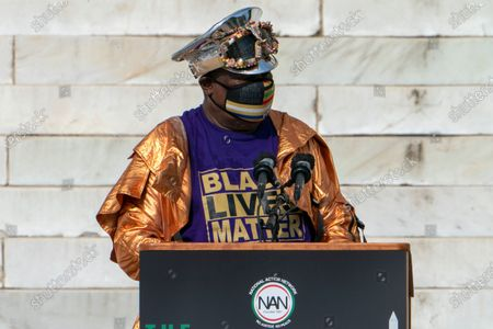 """Stock Photo of Singer George Clinton, of Parliament Funkadelic, speaks during the March on Washington, at the Lincoln Memorial in Washington, on the 57th anniversary of the Rev. Martin Luther King Jr.'s """"I Have A Dream"""" speech"""