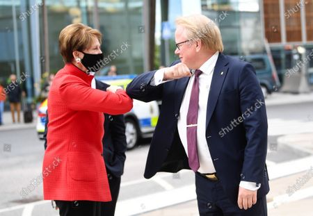 Sweden's Minister for Defence Peter Hultqvist (R) receives United States secretary of the Air Force Barbara M. Barrett (L) at the Arlanda Airport outside Stockholm Friday 28 Aug. During the meeting, the ministers will, among other things, discuss regional security in the immediate area, bilateral cooperation Arctic issues