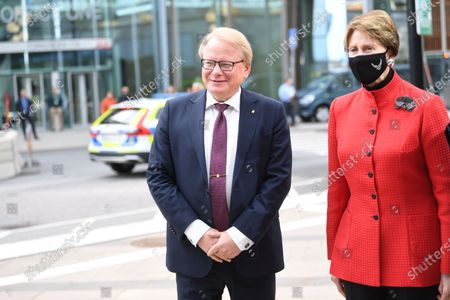 Stock Picture of Sweden's Minister for Defence Peter Hultqvist (L) receives United States secretary of the Air Force Barbara M. Barrett (R) at the Arlanda Airport outside Stockholm Friday 28 Aug. During the meeting, the ministers will, among other things, discuss regional security in the immediate area, bilateral cooperation Arctic issues
