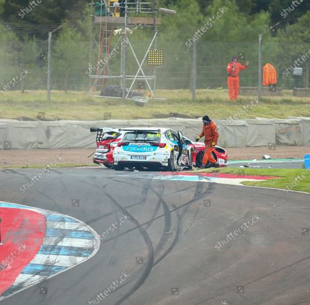 Mike Bushell and Ollie Jackson are involved in a collision in round 12 of the BTCC; Knockhill Racing Circuit, Fife, Scotland; Kwik Fit British Touring Car Championship, Knockhill, Race Day.