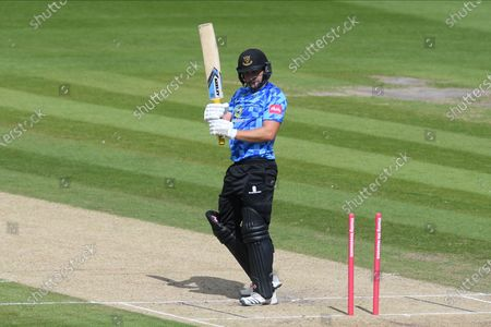 Luke Wright of Sussexis bowled by Gus Atkinson of Surrey during the Vitality T20 Blast South Group match between Sussex County Cricket Club and Surrey County Cricket Club at the 1st Central County Ground, Hove