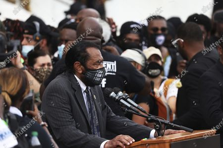 """Rep. Al Green, D-Texas, speaks during the March on Washington, in Washington, on the 57th anniversary of the Rev. Martin Luther King Jr.'s """"I Have A Dream"""" speech"""