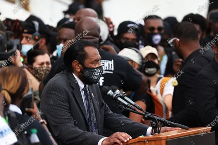 Congressman Al Green speaks during the 'Commitment March: Get Your Knee Off Our Necks' in Washington, DC, USA 28 August 2020. The March on Washington comes on the 57th anniversary of Dr. Martin Luther King's historic march, when he delivered his 'I Have a Dream' speech.