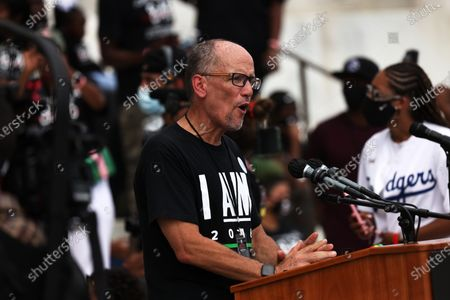 Stock Photo of Tom Perez, the Chair of the Democratic National Committee, speaks during the 'Commitment March: Get Your Knee Off Our Necks' in Washington, DC, USA 28 August 2020. The March on Washington comes on the 57th anniversary of Dr. Martin Luther King's historic march, when he delivered his 'I Have a Dream' speech.