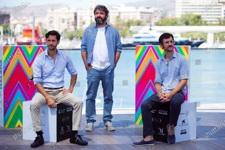 Spanish filmmaker Victor Garcia Leon (C) poses next to actors and cast members Juan Diego Botto (L) and Raul Arevalo during the presentation of the movie 'Los Europeos' at the Official Category of the 23rd edition of Malaga Film Festival in Malaga, Spain, 28 August 2020.