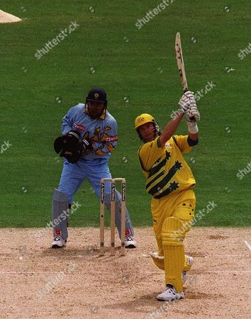 Cricket World Cup 1999  Australia V India The Oval 4/6/99  Australia Won By 77 Runs /daily Mail Australias Mark Waugh Hits Out