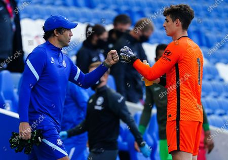 Kepa Arrizabalaga of Chelsea fist pumps Chelsea goalkeeping coach Henrique Hilario