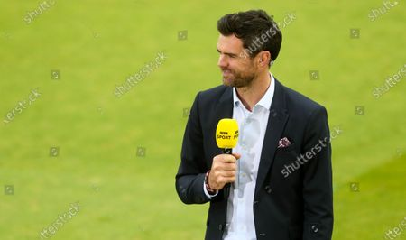 James Anderson (L) on duty for the BBC