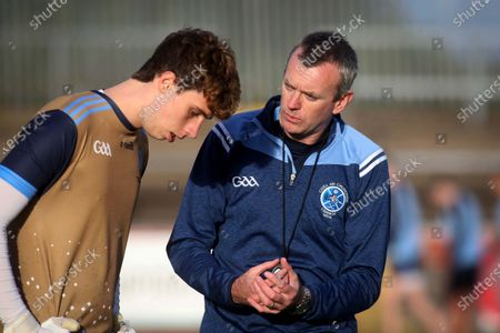 Stock Photo of Trillick vs Killyclogher. Killyclogher manager Mark Henry chats to Oran Grimes before the game
