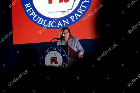 Former Congresswoman and current congressional candidate Karen Handel speaks at an RNC watch party in Atlanta.