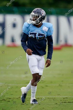 Tennessee Titans cornerback Chris Jackson runs a drill during NFL football training camp, in Nashville, Tenn
