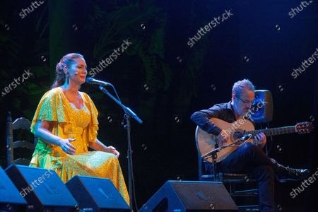 Spanish flamenco singer Marina Heredia (L) performs on stage at La Cana Flamenca Festival in Almunecar, Granada, Spain, 28 August 2020.