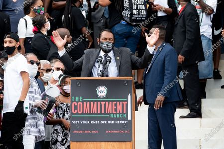 U.S. Representative Al Green (D-TX) speaks during the National Action Network (NAN) Commitment March at the Lincoln Memorial on the National Mall.
