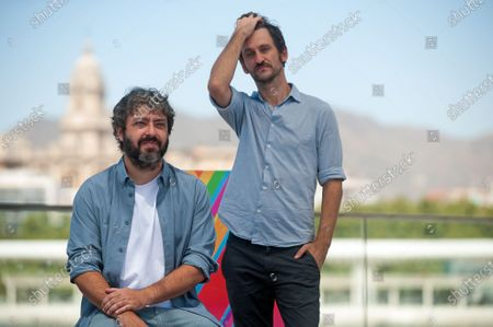 Spanish director, Victor Garcia Leon (L-1) and actor, Raul Arevalo (R-1) posing during the festival. The 23rd edition of Spanish Malaga Film Festival is the first great cinematographic event in Spain and was postponed due to the coronavirus pandemic. Measures to prevent the spread of coronavirus and to guarantee a secure event were introduced as the festival is held from 21st to 30th August.