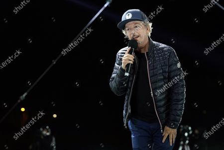 """Comedian David Spade performs at """"Comedy In Your Car"""" at the Ventura County Fairgrounds, Friday, Aug. 28. 2020, in Ventura, Calif"""