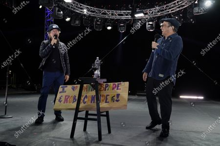 """Comedians David Spade, left, and Rob Schneider perform at """"Comedy In Your Car"""" at the Ventura County Fairgrounds, Friday, Aug. 28. 2020, in Ventura, Calif"""