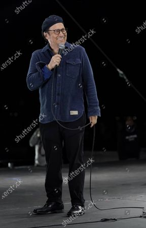 """Comedian Rob Schneider performs at """"Comedy In Your Car"""" at the Ventura County Fairgrounds, Friday, Aug. 28. 2020, in Ventura, Calif"""