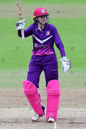 Sarah Bryce of Lightning celebrates her half century during the Rachael Heyhoe Flint Trophy match between Loughborough Lightning and Lancashire Thunder at Trent Bridge, Nottingham