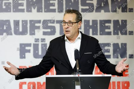 Heinz-Christian Strache, former Austrian vice chancellor and head of 'Team HC Strache' party, gives a speech at the party's election campaign kick-off event in Vienna, Austria, 29 August 2020. The right-wing populist party launched the campaign for Strache's candidacy to the 2020 Vienna City Council and District Councils elections that are scheduled to be held in October 2020.